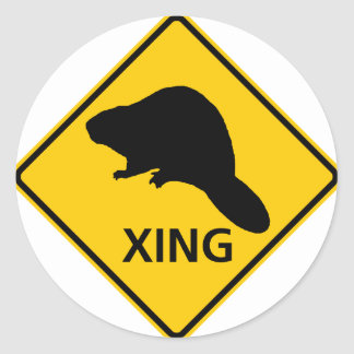 Beaver Crossing Highway Sign Classic Round Sticker