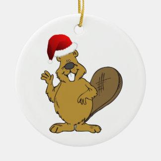 Beaver cute santa hat ceramic ornament