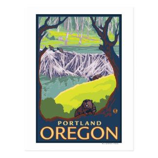 Beaver Family - Portland, Oregon Postcard