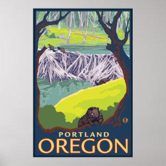 Beaver Family - Portland, Oregon Poster