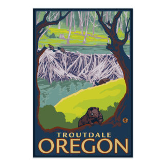 Beaver Family - Troutdale, Oregon Poster