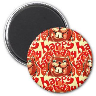 beaver happy birthday cartoon style illustration 6 cm round magnet