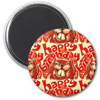 beaver happy birthday cartoon style illustration magnet