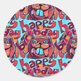 beaver happy birthday cartoon style illustration round sticker
