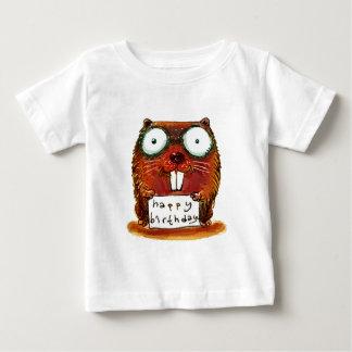 beaver holds happy birthday message cartoon baby T-Shirt