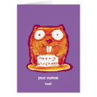 beaver holds happy birthday message cartoon card