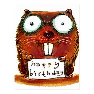 beaver holds happy birthday message cartoon postcard