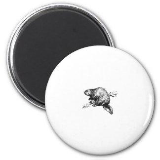 Beaver Line Art Logo 6 Cm Round Magnet