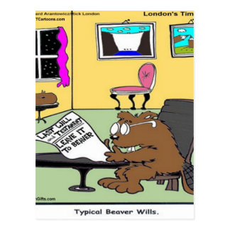 Beaver Living Wills Rick London Funny Postcard