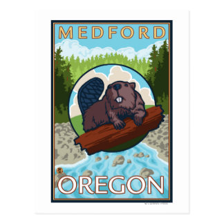 Beaver & River - Medford, Oregon Postcard