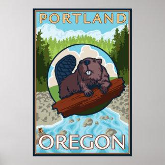 Beaver & River - Portland, Oregon Poster