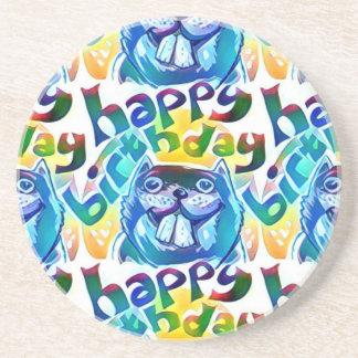 beaver say happy birthday coaster