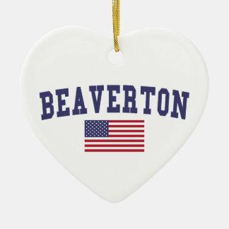 Beaverton US Flag Ceramic Ornament