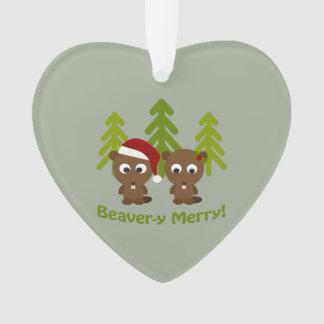 Beavery Merry Christmas Beaver Couple Ornament