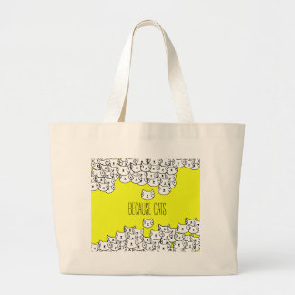 Because cats - cat gang large tote bag