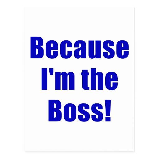 Because Im the Boss Postcard