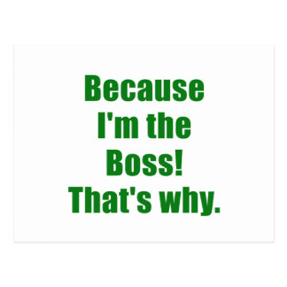 Because Im the Boss Thats Why Postcard
