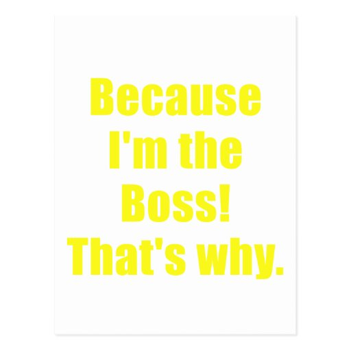 Because Im the Boss Thats Why Post Card