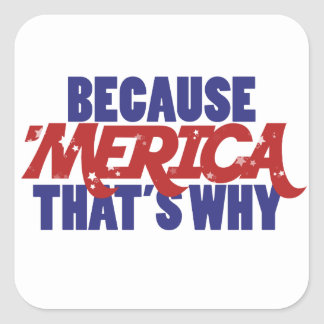 Because MERICA that's why Square Sticker