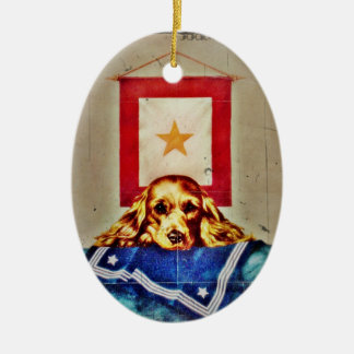 Because Somebody Talked a Sad Pup WWII Ceramic Oval Decoration