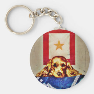 Because Somebody Talked a Sad Pup WWII Key Chain