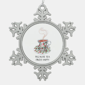 Because tea finds happy -- with vintage tea cup snowflake pewter christmas ornament