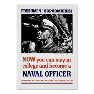 Become A Naval Officer - WW2 Recruiting Poster