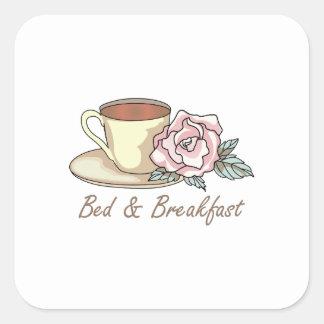 BED & BREAKFAST SQUARE STICKER