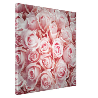 Bed of light pink roses ,romantic soft girly cute canvas print