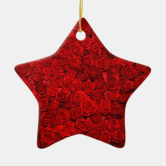 Bed of red roses christmas tree ornament