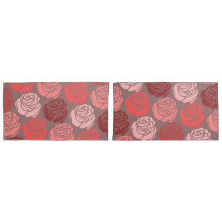 Bed of Roses, Monochrome Brilliant Pink Pillowcase