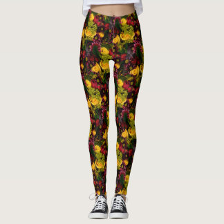 Bed of Yellow and Red Roses: Leggings