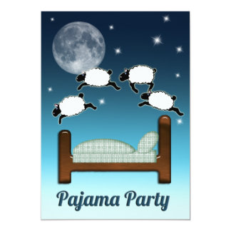 Bed, Sky, and Counting Sheep at Night PJ Party Card