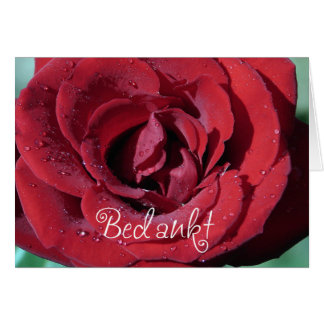 Bedankt - thank you in Dutch with red rose flower Card