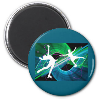 Bedazzled Figure Skaters Ice Skating 6 Cm Round Magnet