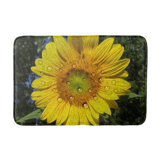 Bedewed Sunflower Bath Mat