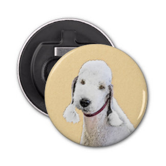 Bedlington Terrier 2 Painting - Original Dog Art Bottle Opener