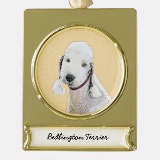 Bedlington Terrier 2 Painting - Original Dog Art Gold Plated Banner Ornament