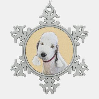 Bedlington Terrier 2 Painting - Original Dog Art Snowflake Pewter Christmas Ornament