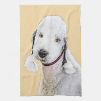 Bedlington Terrier 2 Painting - Original Dog Art Tea Towel
