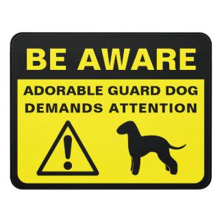 Bedlington Terrier Silhouette Guard Dog Warning Door Sign