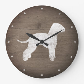 Bedlington Terrier Silhouette Rustic Style Large Clock