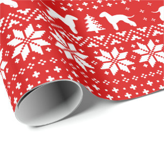 Bedlington Terriers Christmas Sweater Pattern Red Wrapping Paper