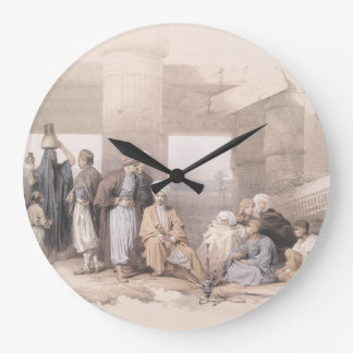 Bedouin Family at the temple of Amun,Thebes, Egypt Large Clock