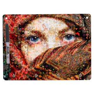 Bedouin woman-bedouin girl-eye collage-eyes-girl dry erase board with key ring holder