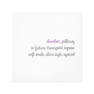 bedroom sleep haiku canvas print