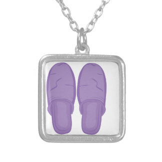 Bedroom Slippers Silver Plated Necklace