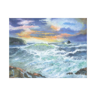 Bedruthan Steps Rough Sea Cornwall Canvas Print