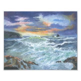 Bedruthan Steps Rough Sea Cornwall Photo Print