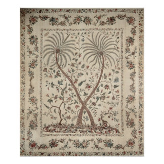 Bedspread with Palm Tree Motifs Poster